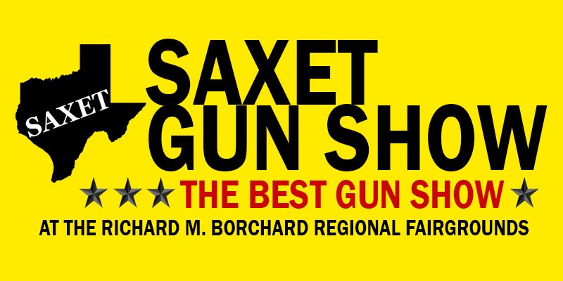 Texas shape size in black with the word SAXET on it in white lettering with yellow background. With SAXET Gun Show lettering description and stars